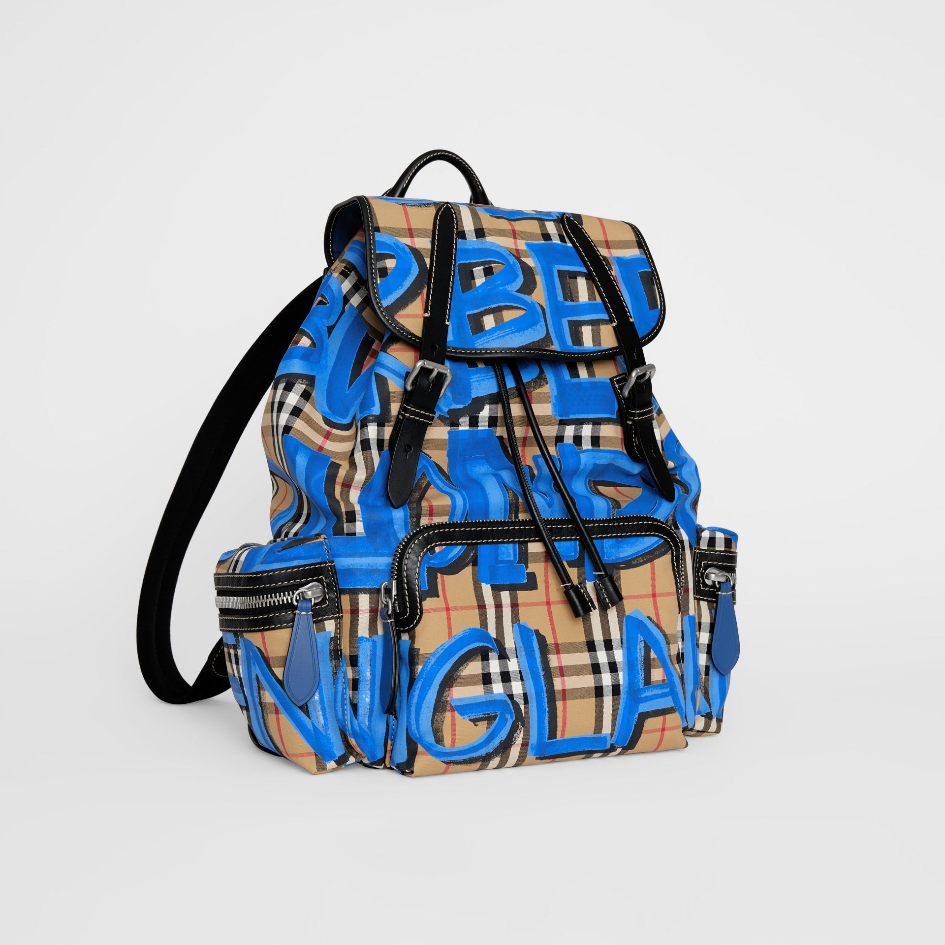 The Large Rucksack in Graffiti Print Vintage Check in Canvas Blue/antique Yellow - Men | Burberry - gallery image 6