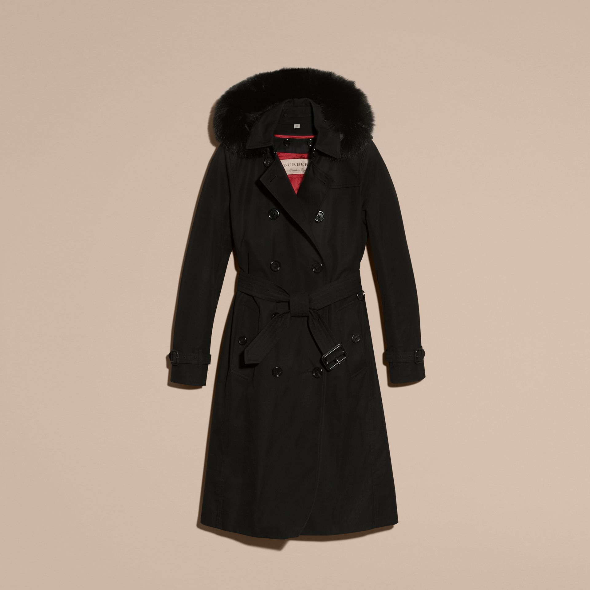 Black Fur-trimmed Hood Trench Coat with Detachable Warmer Black - gallery image 4