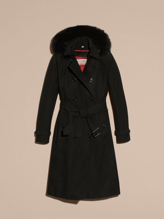 Black Fur-trimmed Hood Trench Coat with Detachable Warmer Black - cell image 3