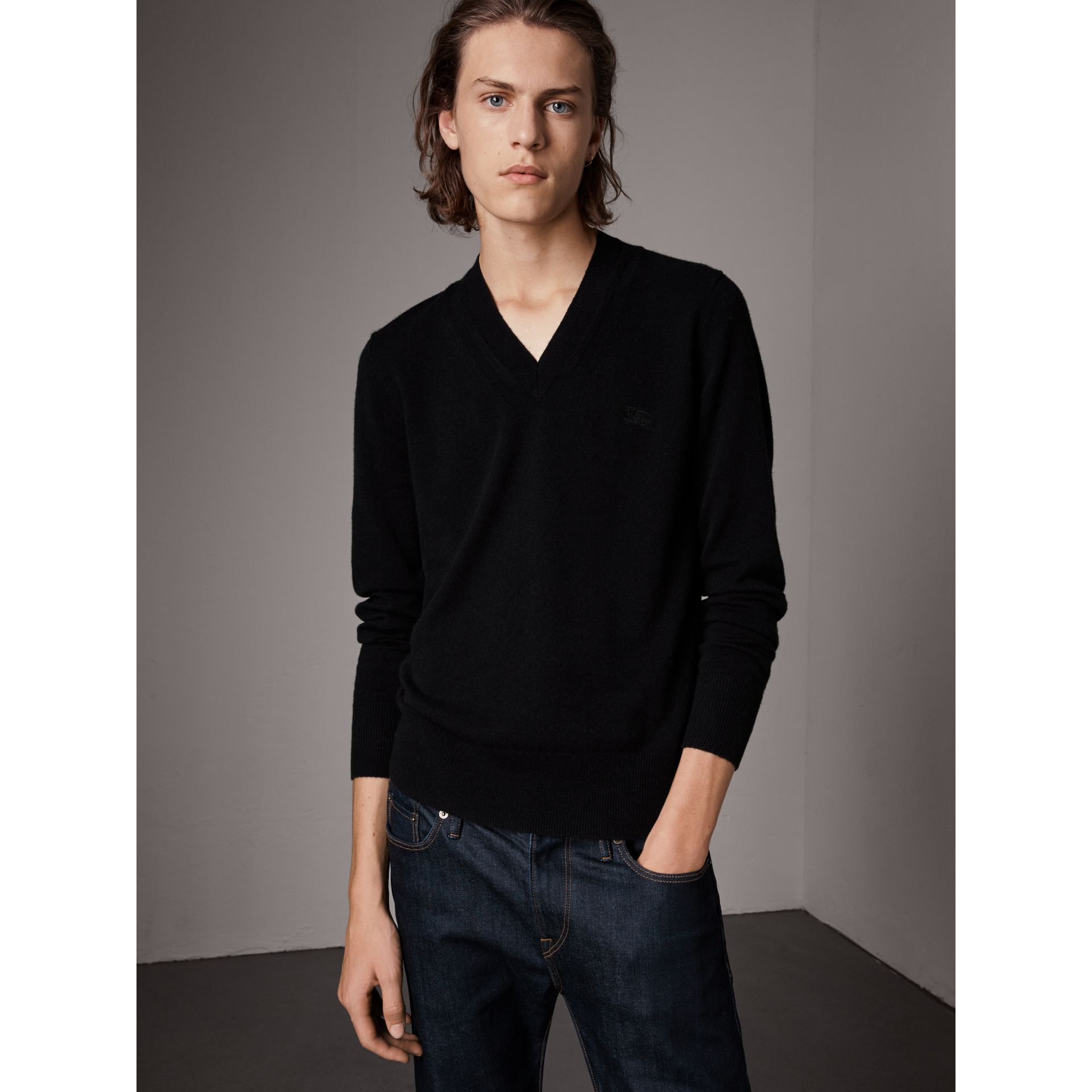 Cashmere V-neck Sweater in Black - Men | Burberry United Kingdom - gallery image 0