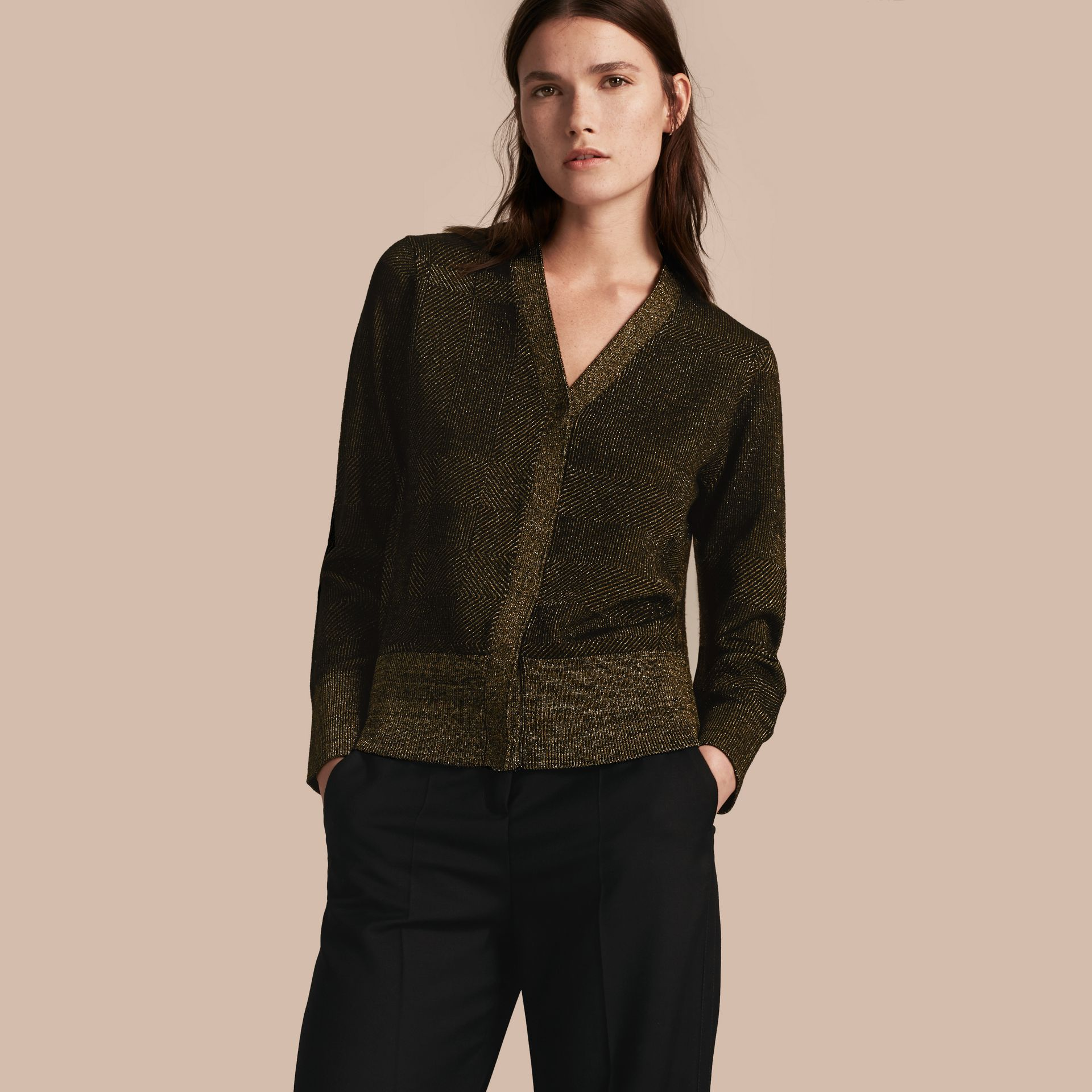 Black Check Merino Wool and Metallic Cardigan - gallery image 1