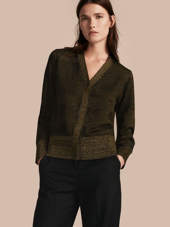 Check Merino Wool and Metallic Cardigan