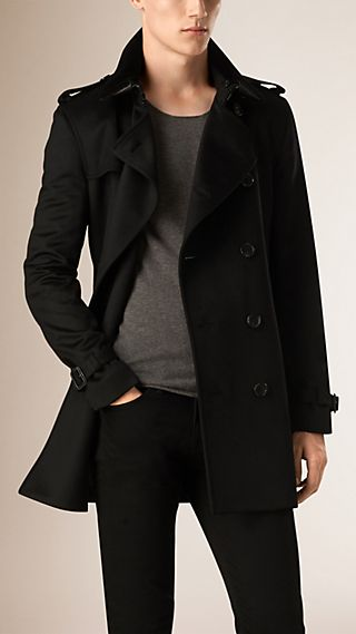 Kensington Fit Cashmere Trench Coat with Rabbit Fur Collar