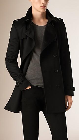 Trench-coat en cachemire de coupe Kensington avec col en fourrure de lapin
