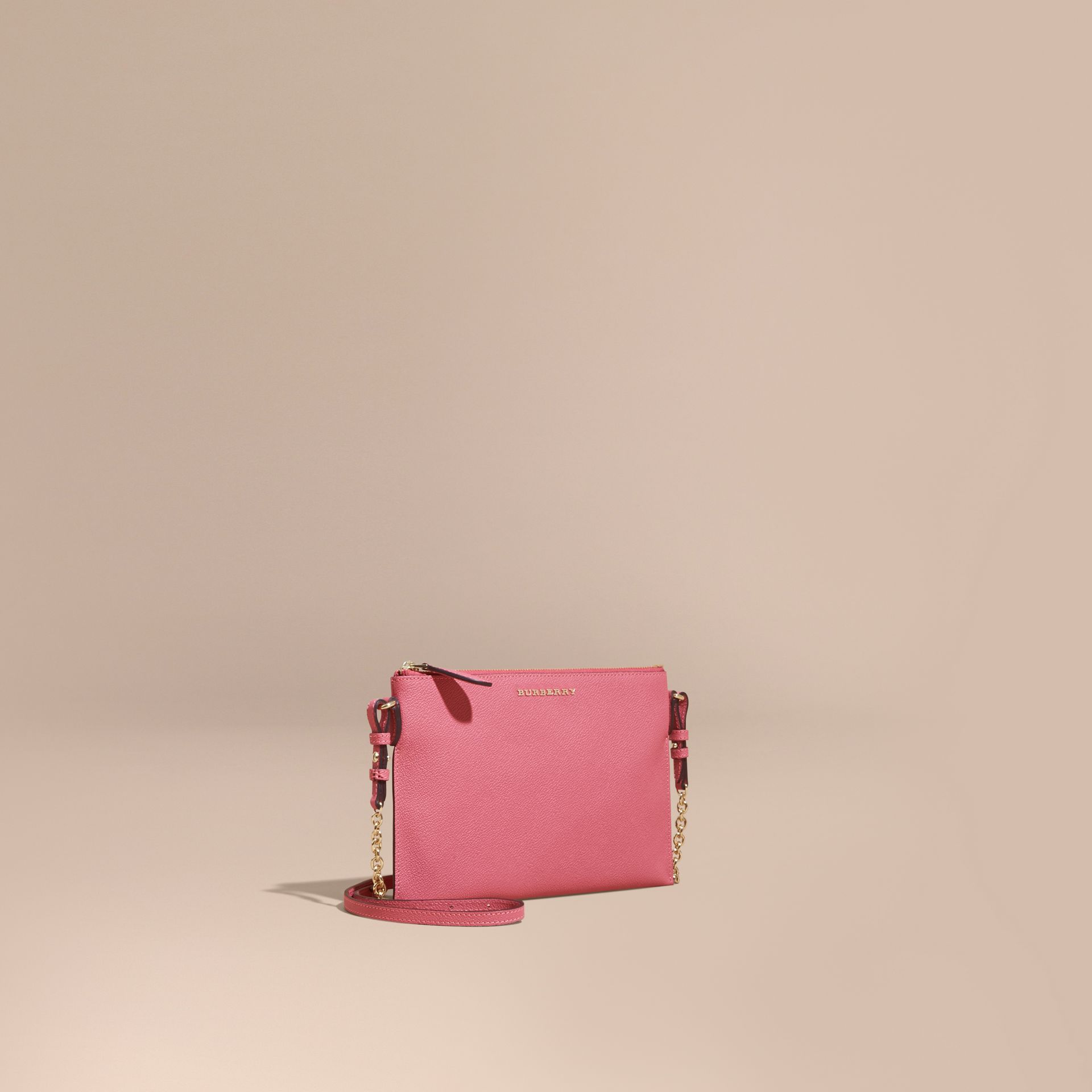 Leather Clutch Bag with Check Lining in Pink Azalea - gallery image 1