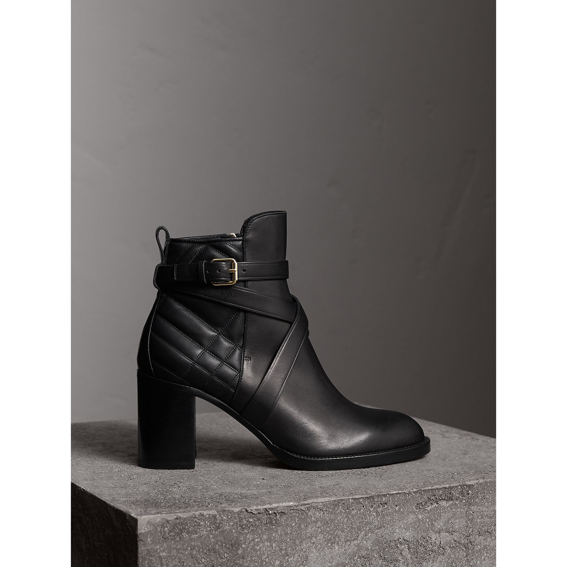 Strap Detail Quilted Leather Ankle Boots in Black - Women | Burberry - gallery image 0