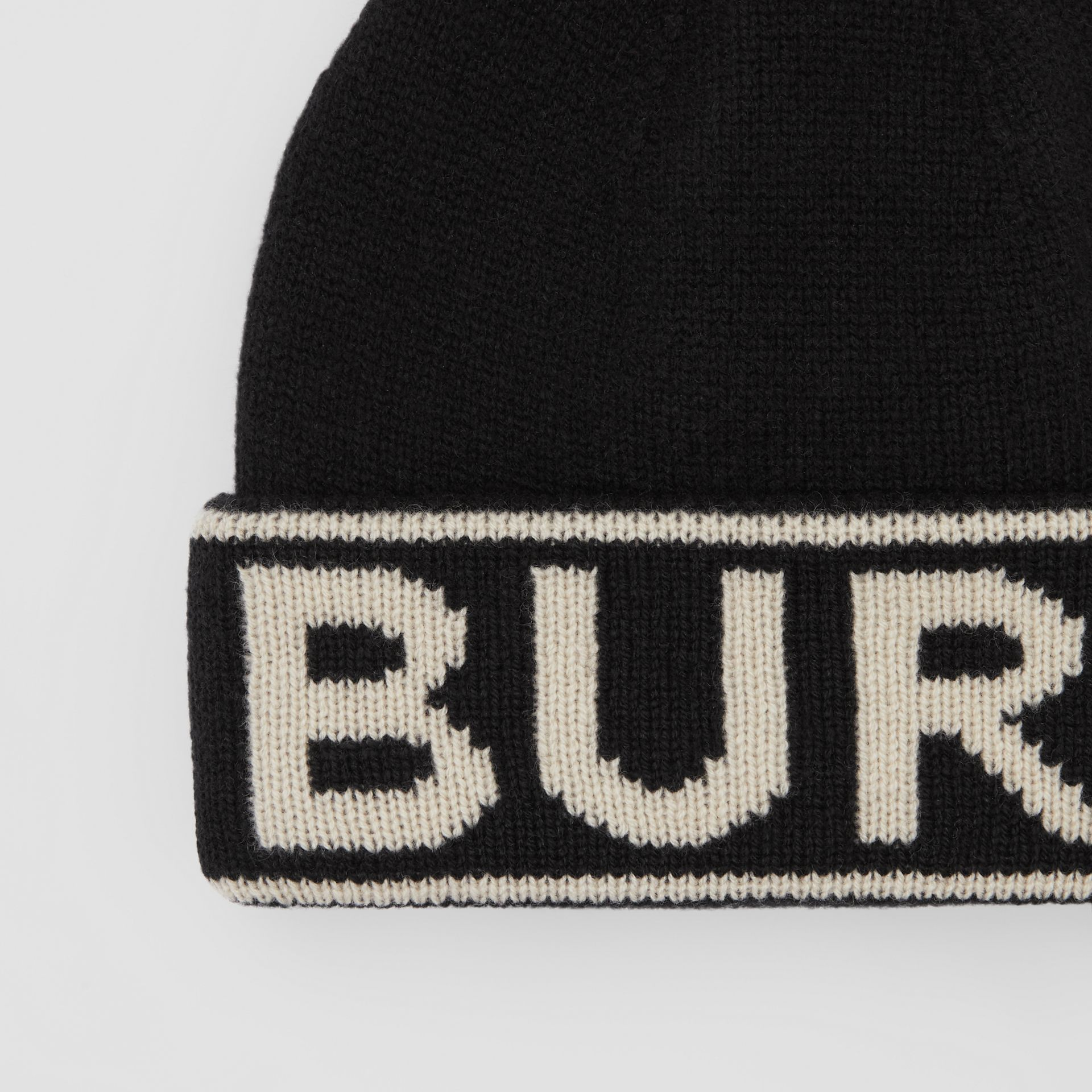 Logo Intarsia Cashmere Beanie in Black | Burberry - gallery image 1