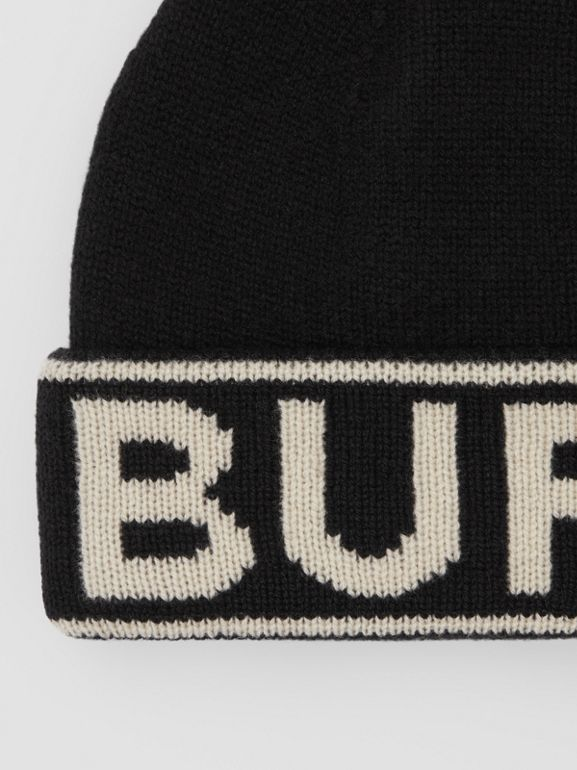 Logo Intarsia Cashmere Beanie in Black | Burberry - cell image 1