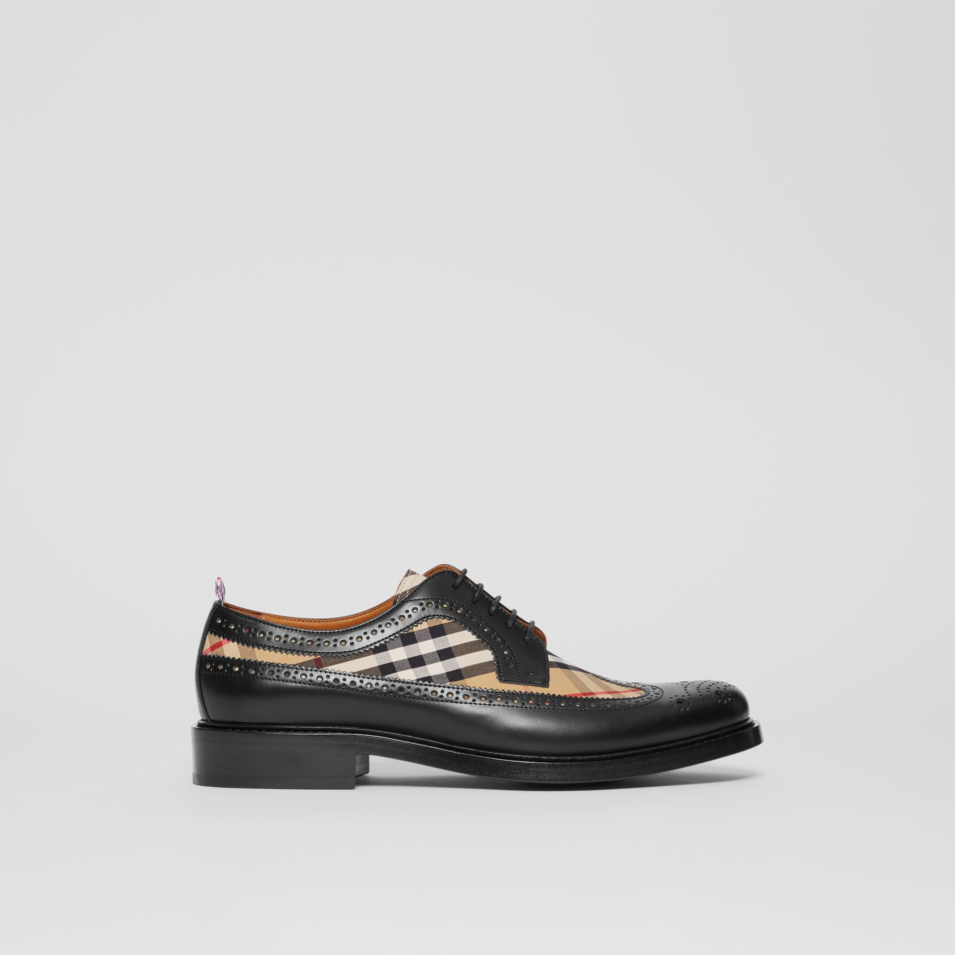 Brogue Detail Leather and Vintage Check Derby Shoes in Black/archive Beige - Men | Burberry Hong Kong S.A.R - gallery image 5
