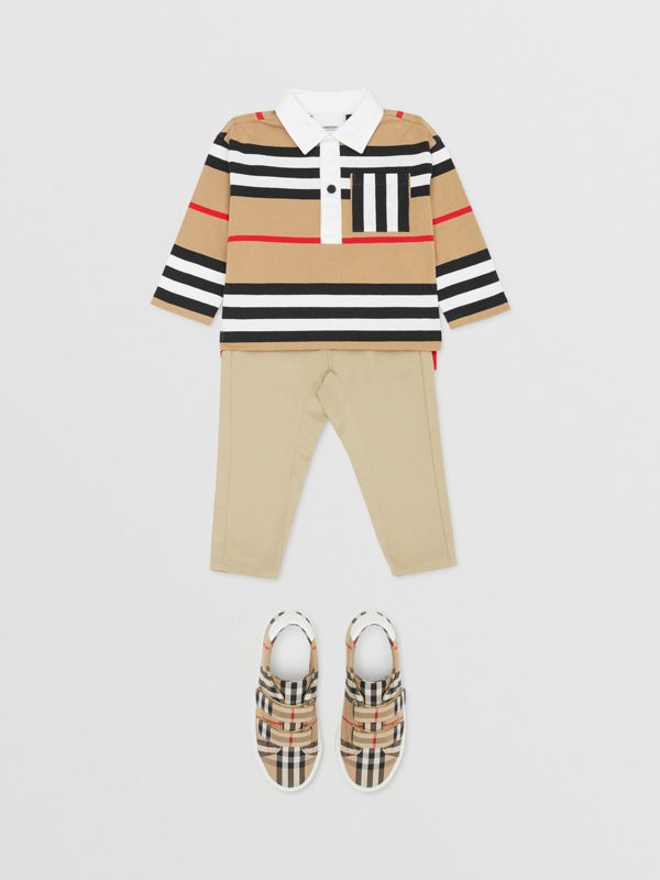 Long-sleeve Icon Stripe Cotton Top in Archive Beige - Children | Burberry United Kingdom - cell image 2