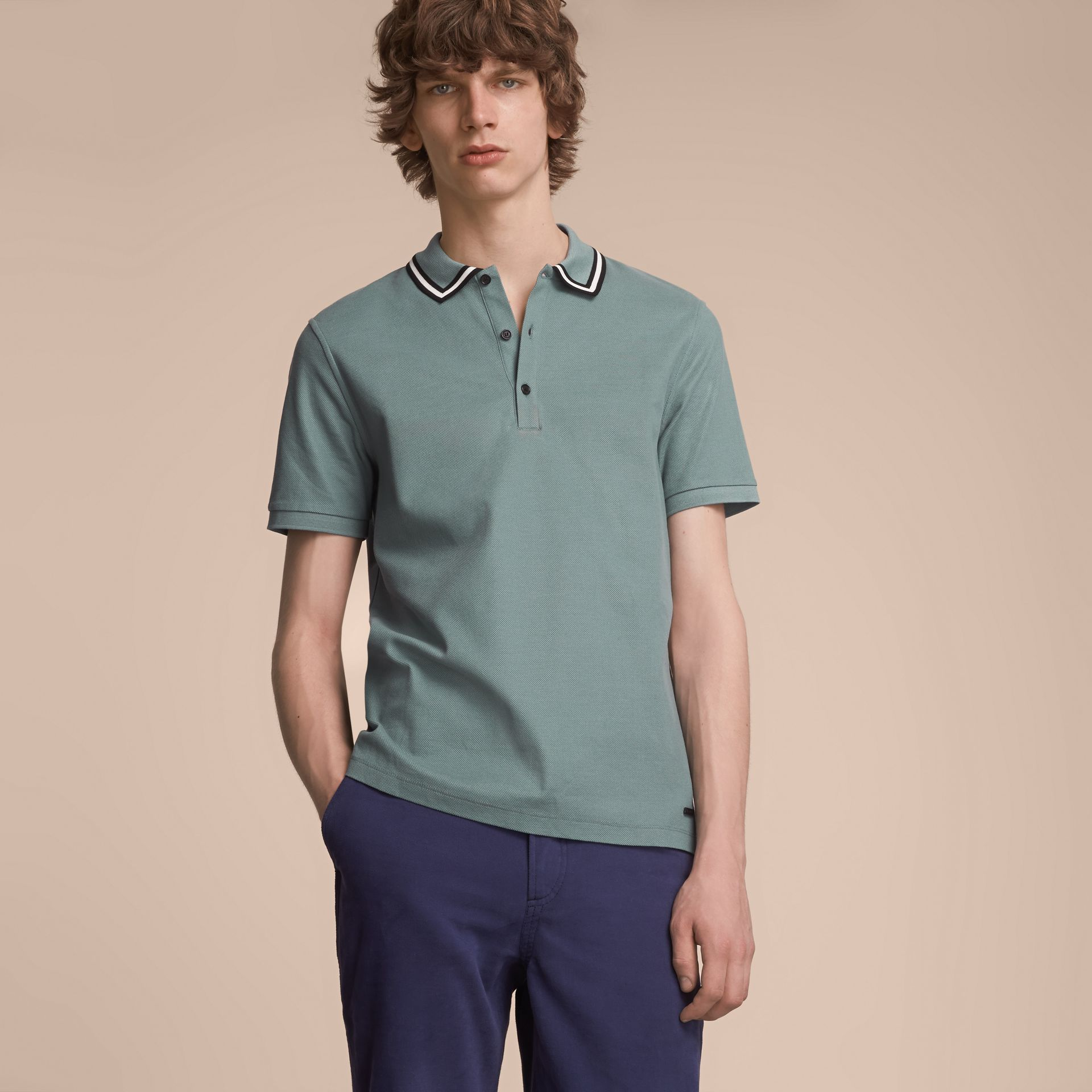 Striped Collar Cotton Piqué Polo Shirt in Pale Teal Blue - Men | Burberry Australia - gallery image 1