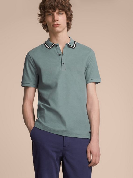 Striped Collar Cotton Piqué Polo Shirt in Pale Teal Blue