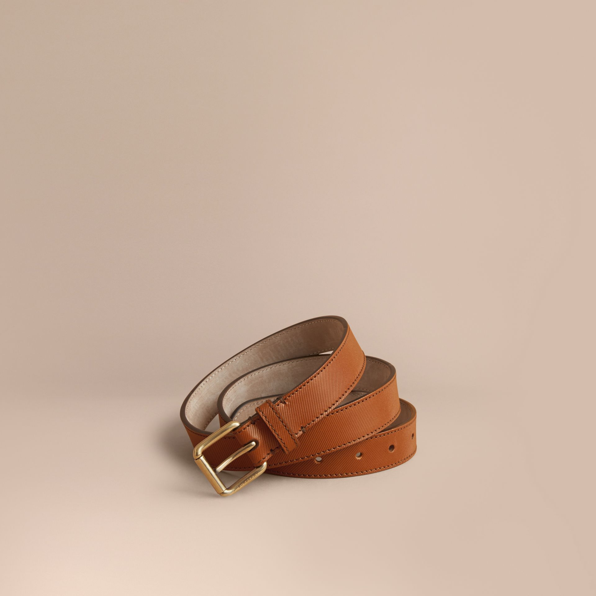 Trench Leather Belt in Tan - Men | Burberry - gallery image 1
