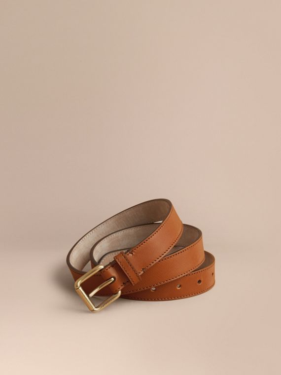 Trench Leather Belt in Tan - Men | Burberry Singapore