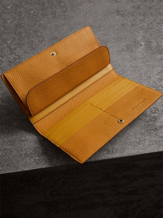 Embossed Leather Continental Wallet in Ochre Yellow | Burberry - cell image 3