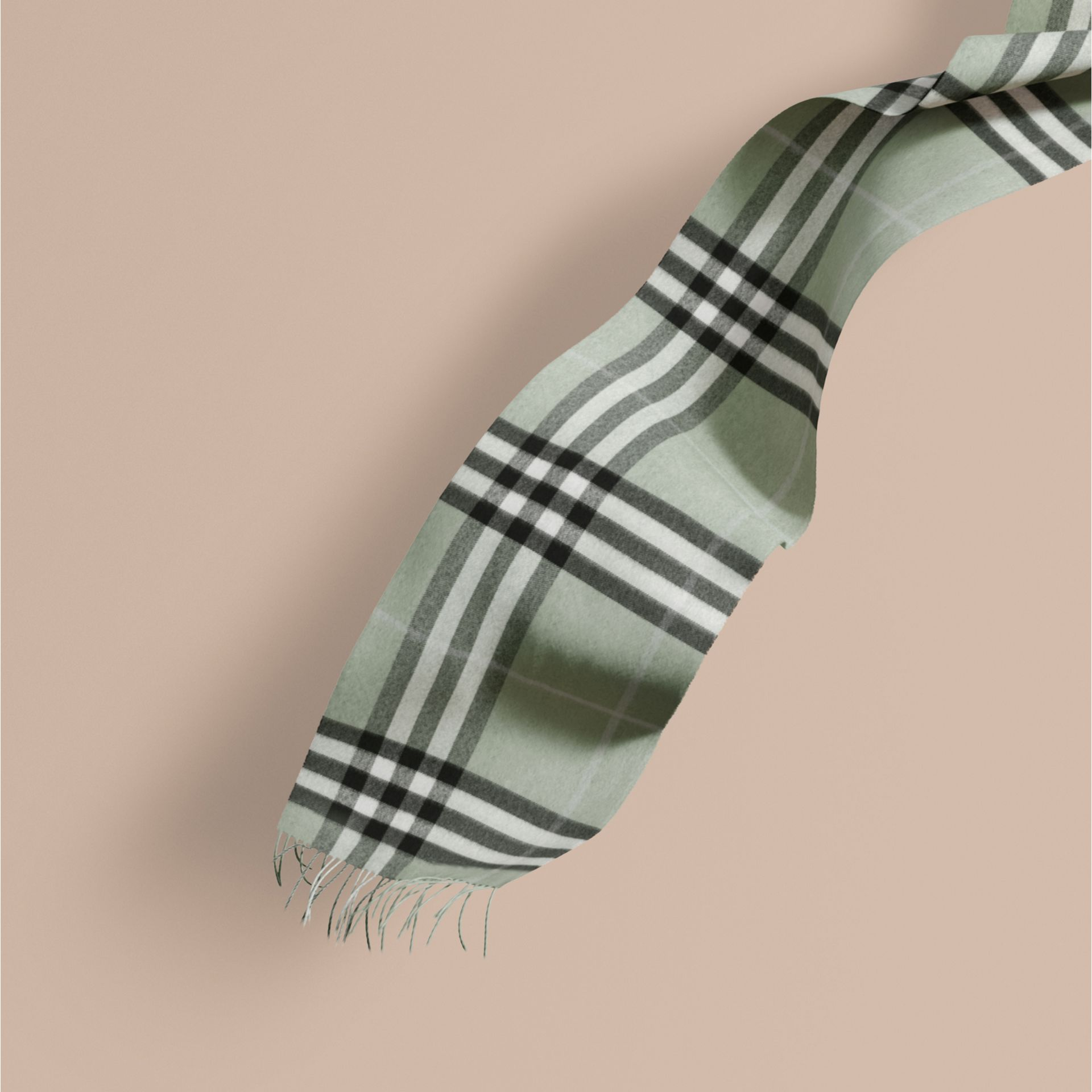 The Classic Cashmere Scarf in Check Dusty Mint - gallery image 1
