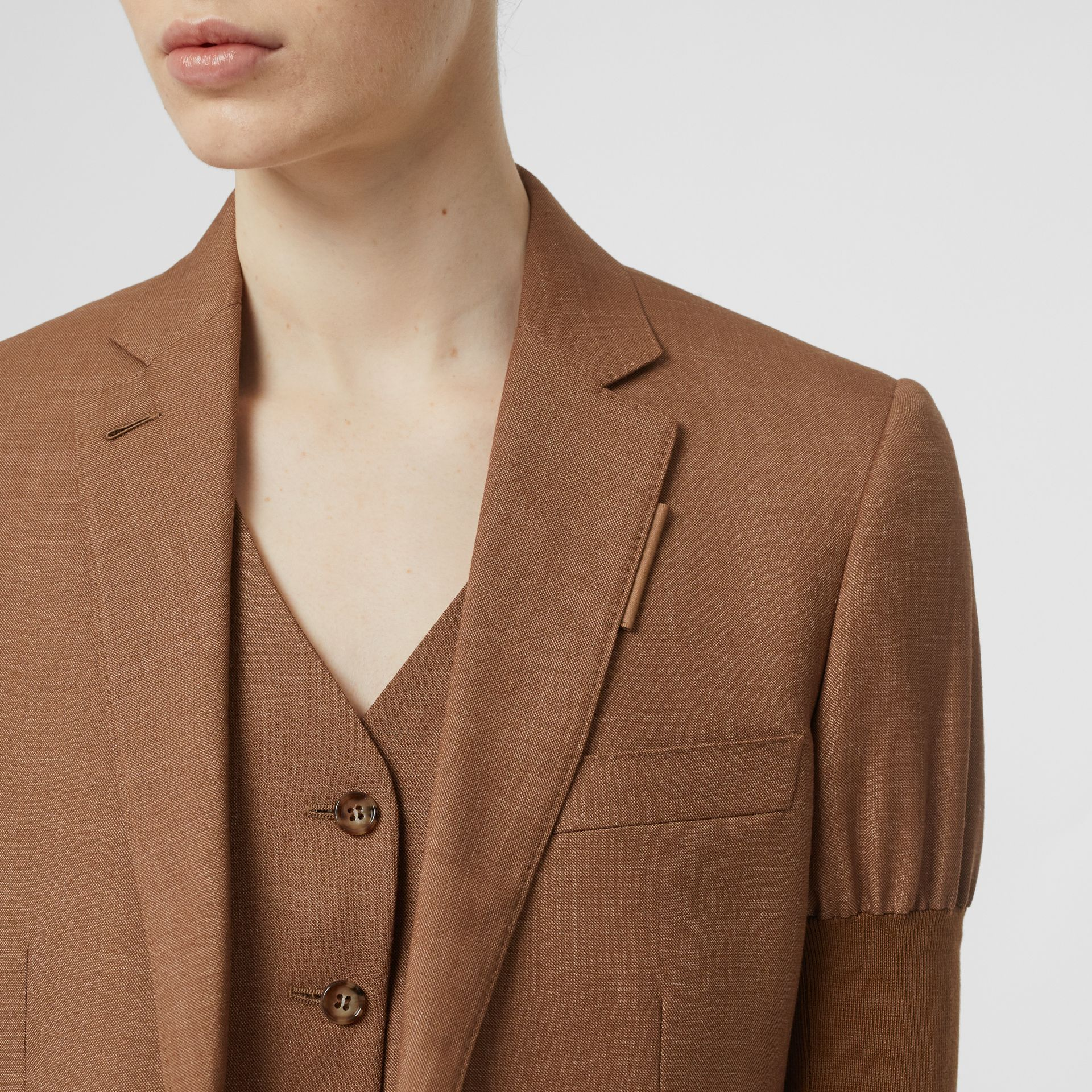 Panelled-sleeve Mohair Wool Blend Tailored Jacket in Bronze - Women | Burberry United Kingdom - gallery image 4