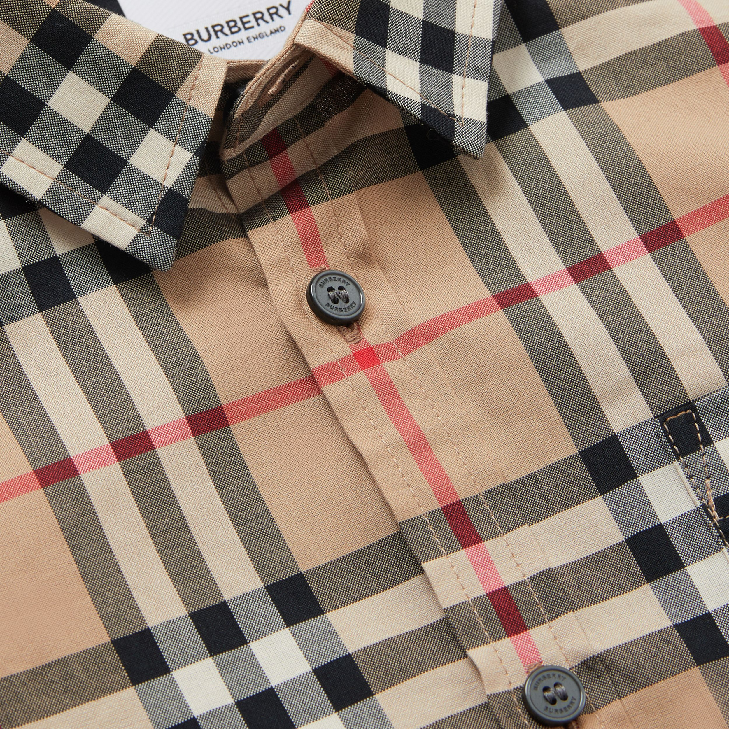 Vintage Check Cotton Poplin Shirt in Archive Beige | Burberry Australia - 2