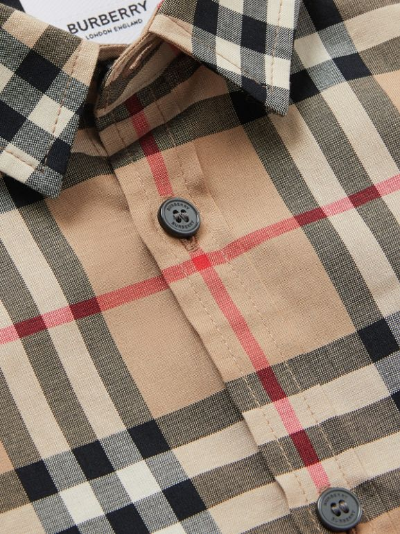 Vintage Check Cotton Poplin Shirt in Archive Beige | Burberry - cell image 1
