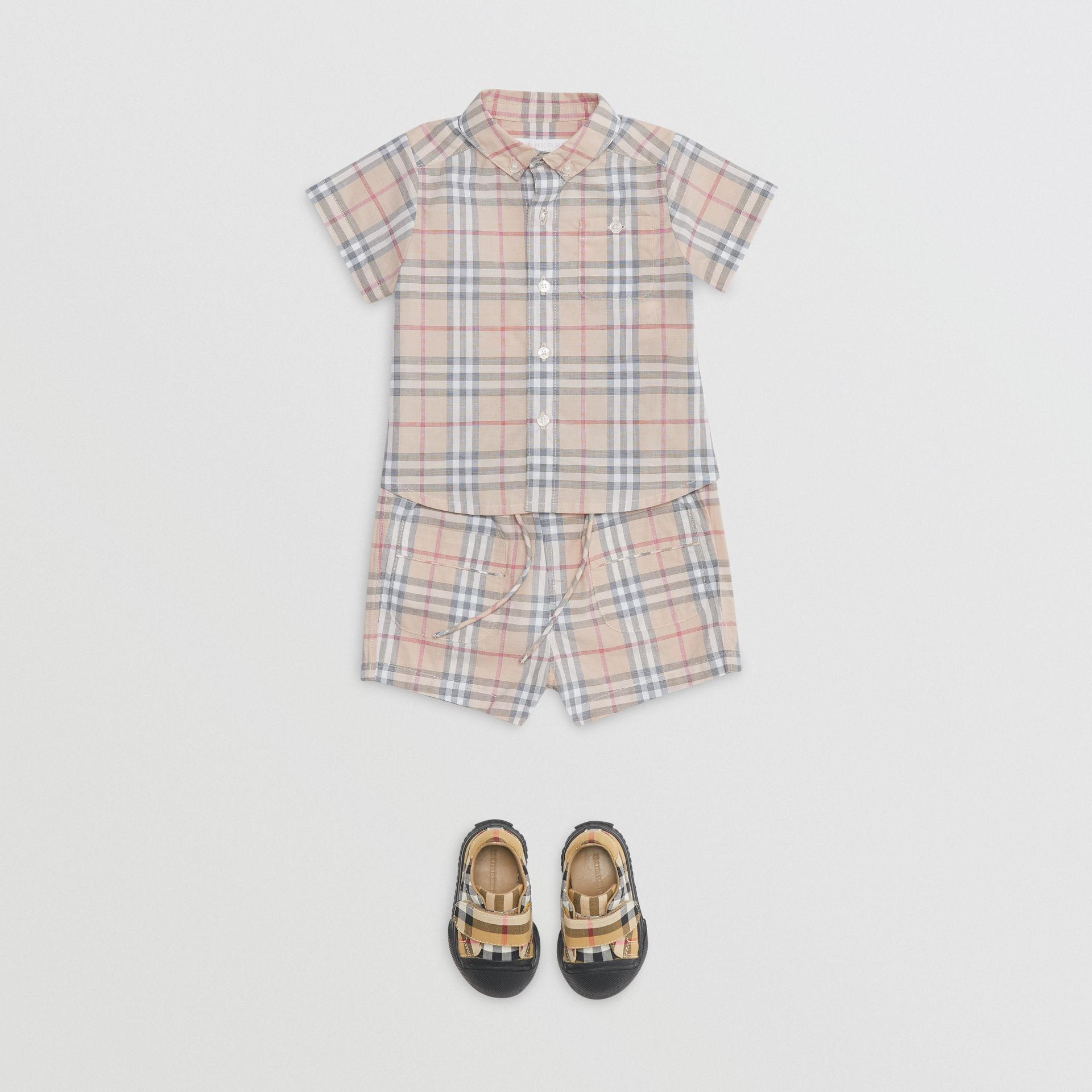 Button-down Collar Short-sleeve Check Cotton Shirt in Pale Stone - Children | Burberry - gallery image 2