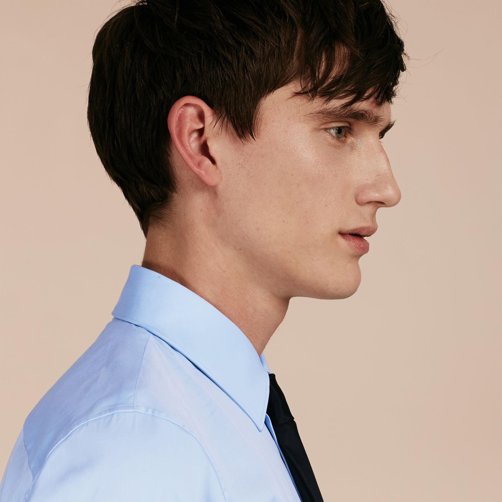 Slim Fit Stretch Cotton Shirt in City Blue - Men | Burberry Hong Kong - gallery image 5
