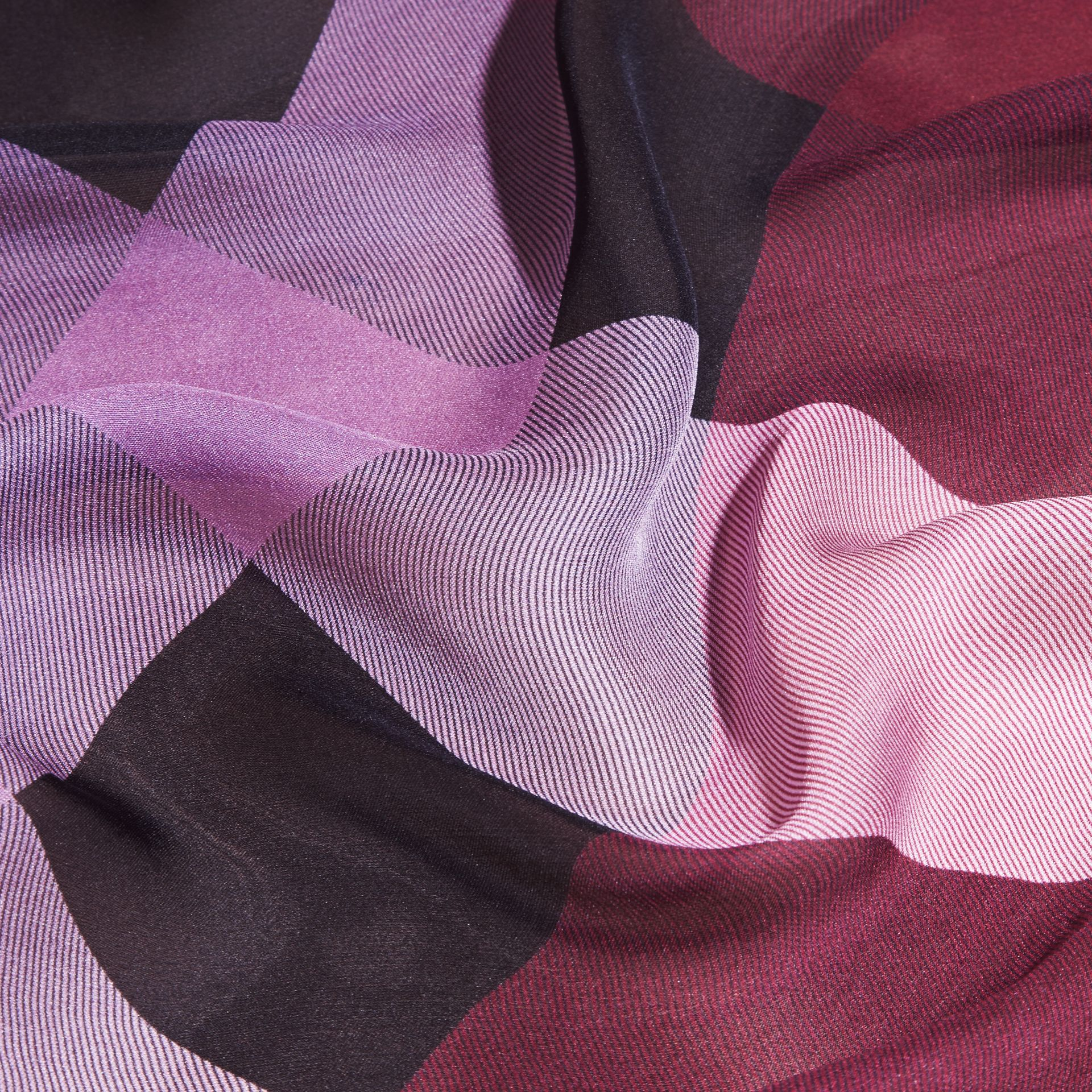 Ombré Washed Check Silk Scarf Plum - gallery image 2