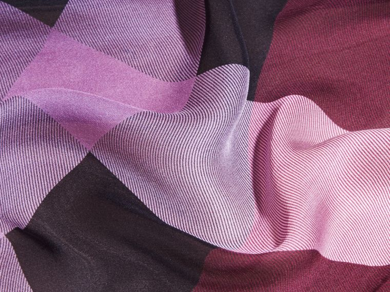 Plum Ombré Washed Check Silk Scarf Plum - cell image 1