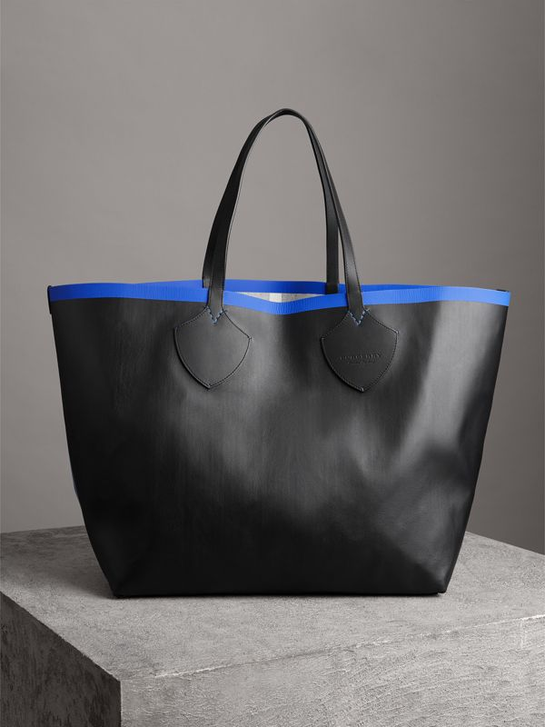 Bolsa tote Giant dupla face de couro e Canvas Check (Mirtilo/preto) | Burberry - cell image 3