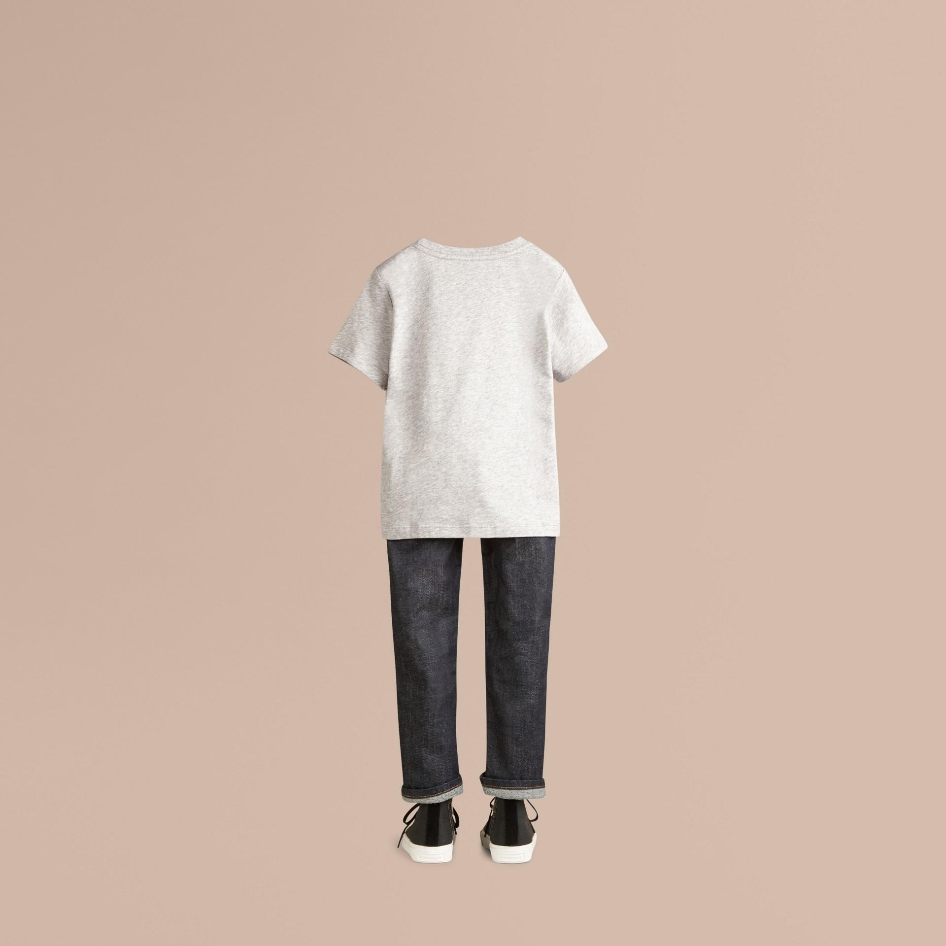 Grey melange Check Pocket T-Shirt - gallery image 3