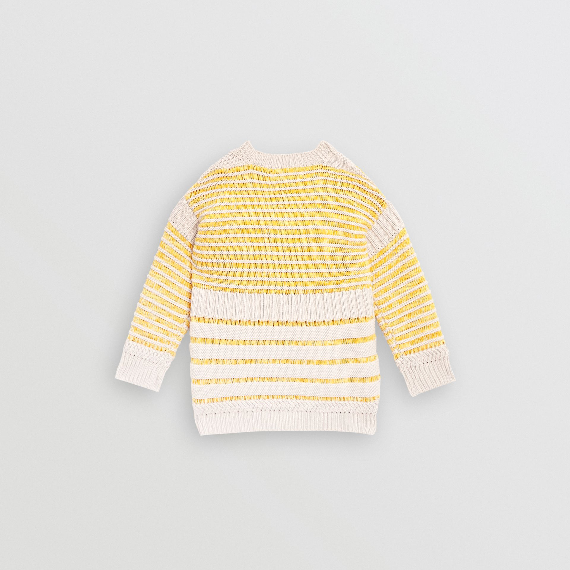Rib Knit Cotton Sweater in Bright Yellow | Burberry Hong Kong - gallery image 3