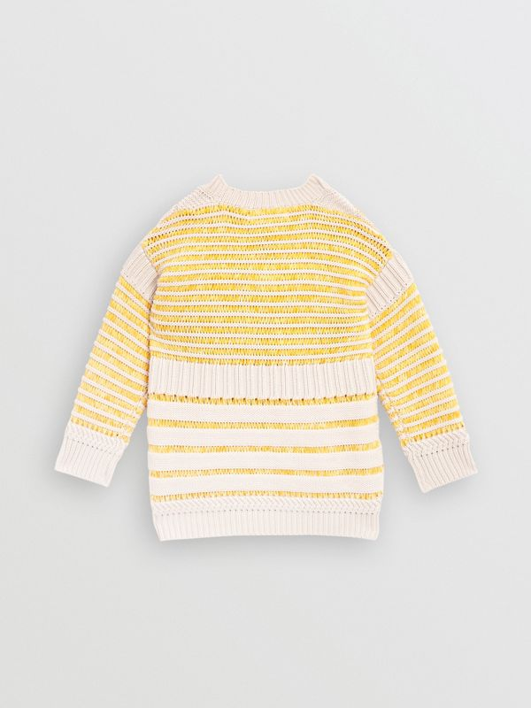 Rib Knit Cotton Sweater in Bright Yellow | Burberry Hong Kong - cell image 3