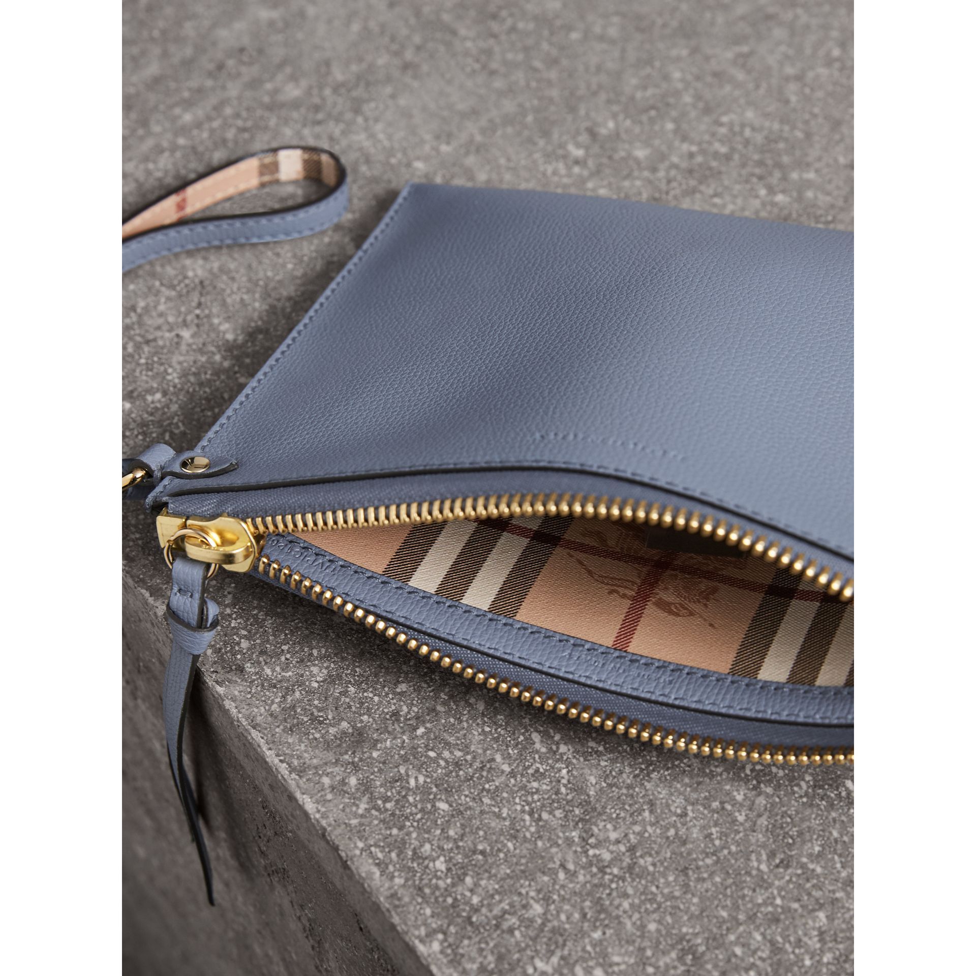 Haymarket Check and Leather Pouch in Slate Blue - Women | Burberry - gallery image 4