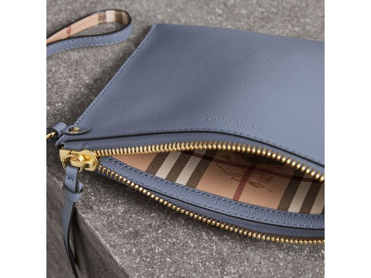 Haymarket Check and Leather Pouch in Slate Blue - Women | Burberry United Kingdom - cell image 4