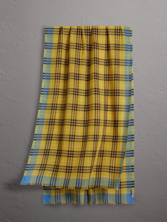 Check Wool Silk Scarf in Bright Yellow