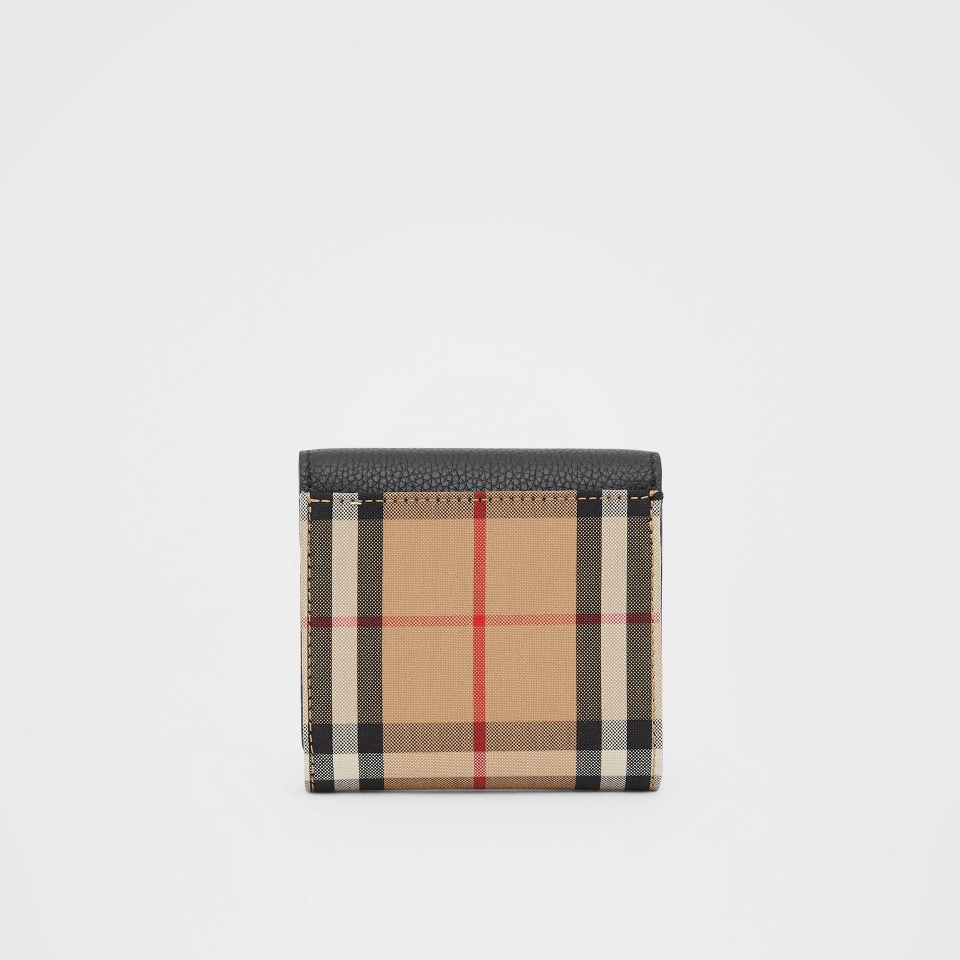 Vintage Check and Grainy Leather Folding Wallet in Black - Women | Burberry Hong Kong S.A.R - gallery image 4