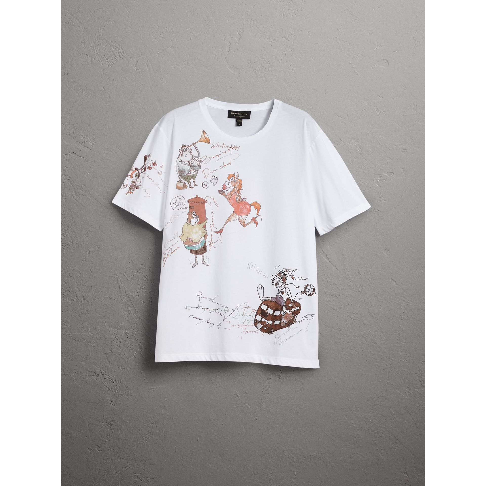 Sketch Print Cotton T-shirt in White - Men | Burberry United States - gallery image 3