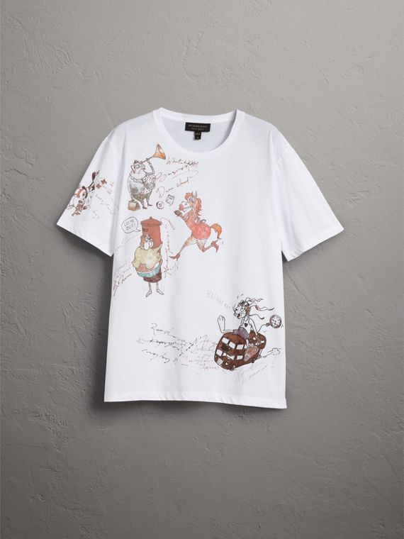 Sketch Print Cotton T-shirt in White - Men | Burberry - cell image 3