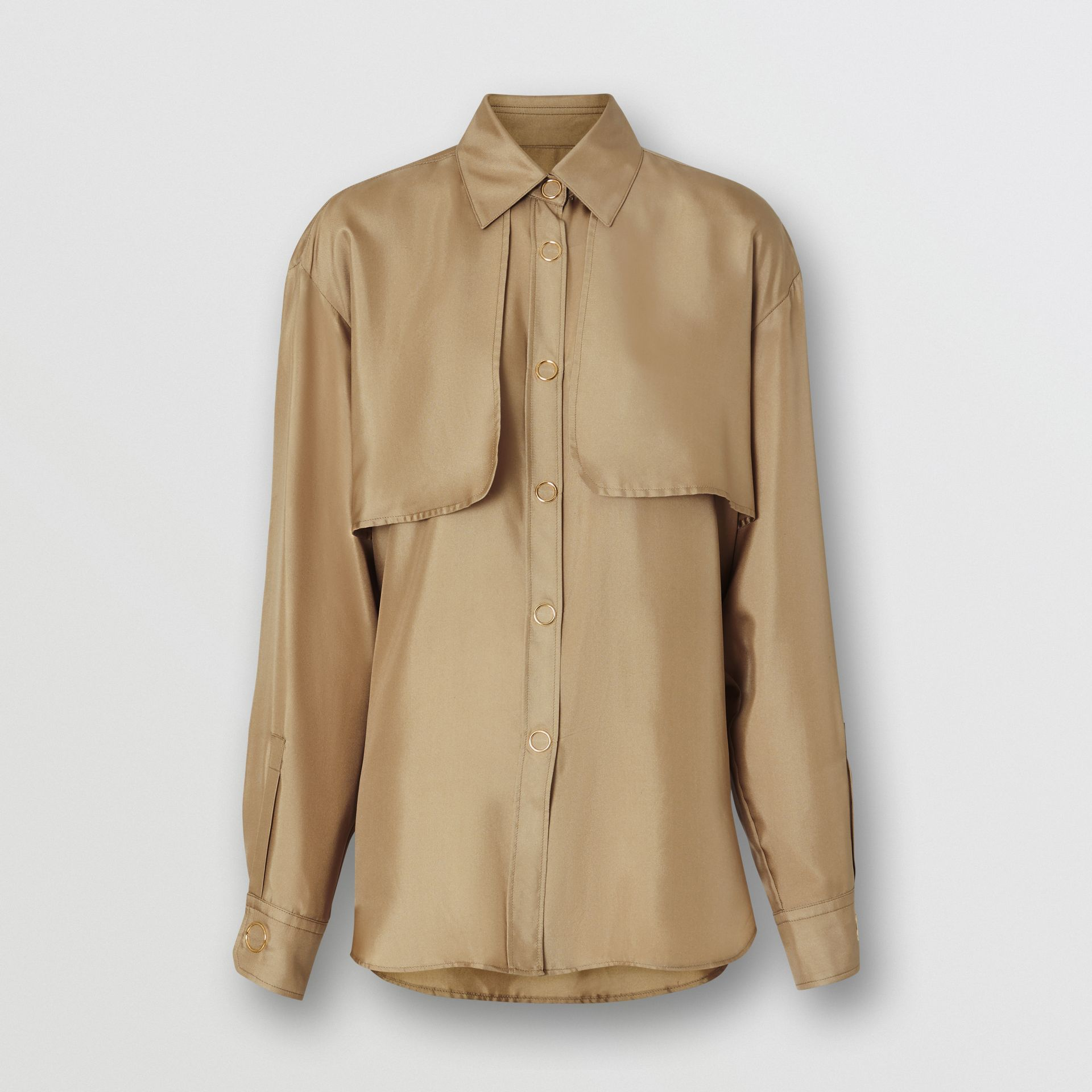 Cape Detail Silk Oversized Shirt in Honey - Women | Burberry - gallery image 3