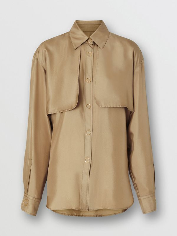 Cape Detail Silk Oversized Shirt in Honey - Women | Burberry - cell image 3