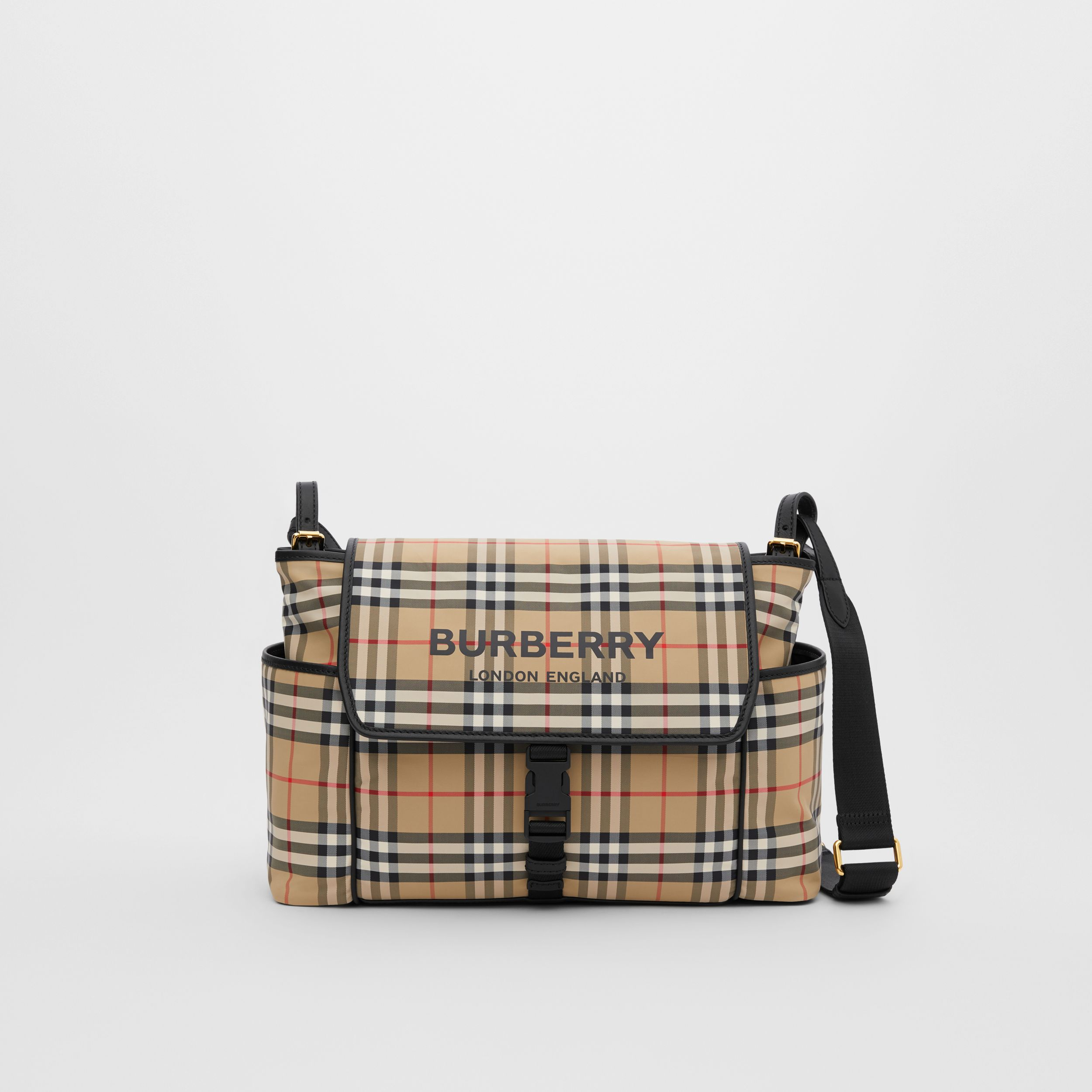 Vintage Check ECONYL® Baby Changing Bag in Archive Beige - Children | Burberry - 1