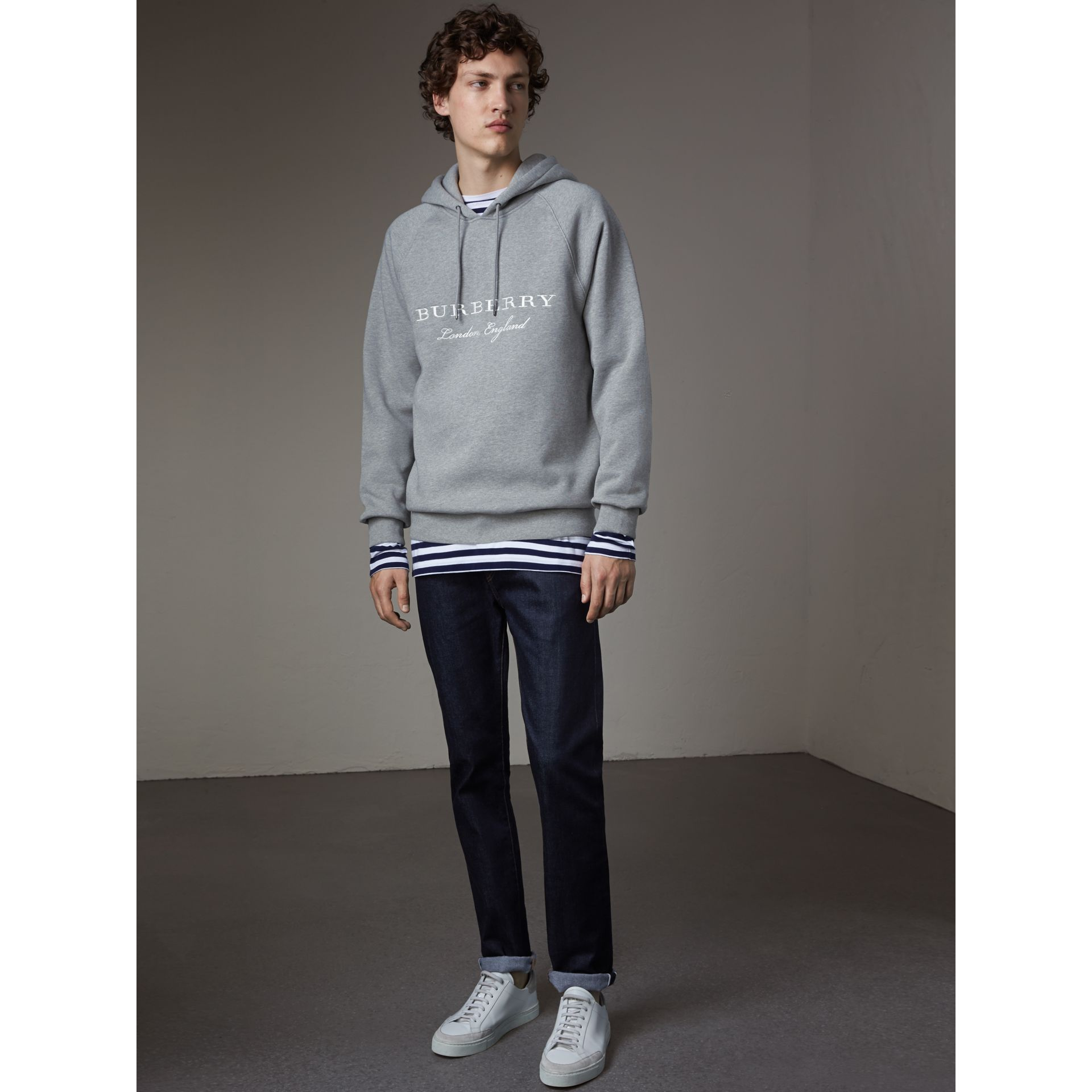 Embroidered Hooded Sweatshirt in Grey Melange - Men | Burberry Hong Kong - gallery image 1