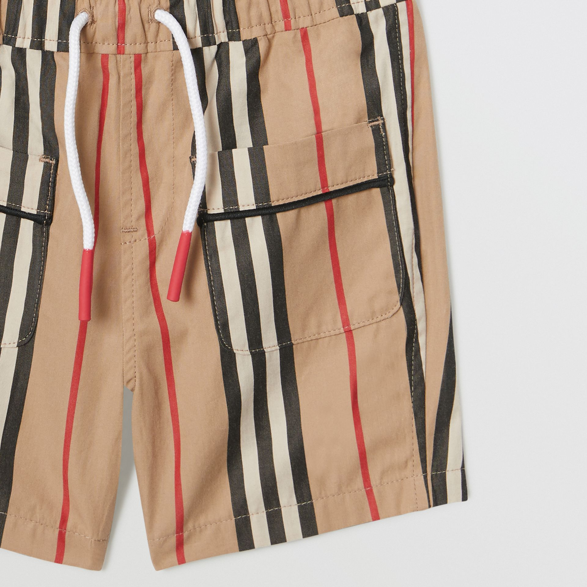 Icon Stripe Cotton Poplin Shorts in Archive Beige - Children | Burberry - gallery image 4