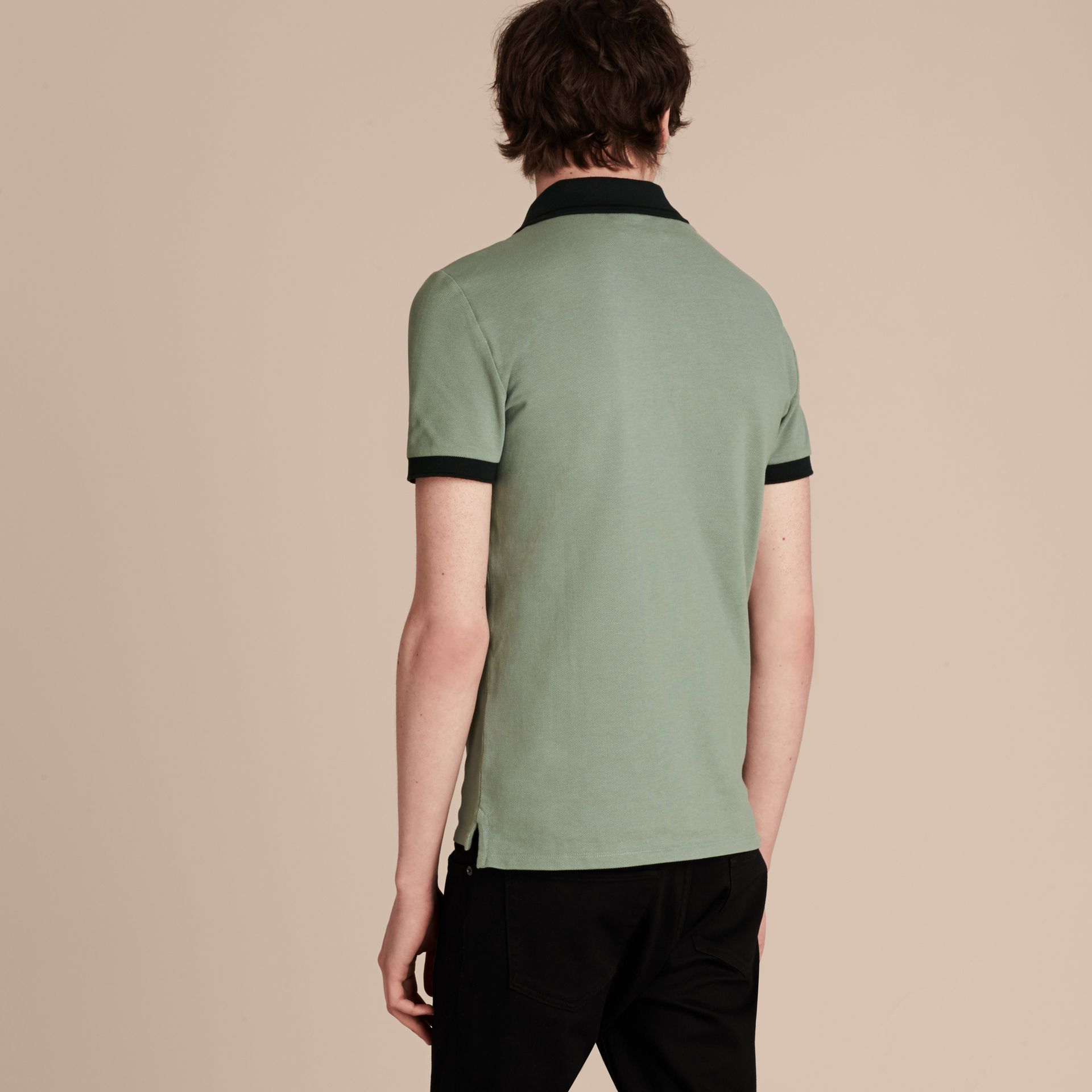 Chalk green/black Contrast Trim Cotton Piqué Polo Shirt Chalk Green/black - gallery image 3