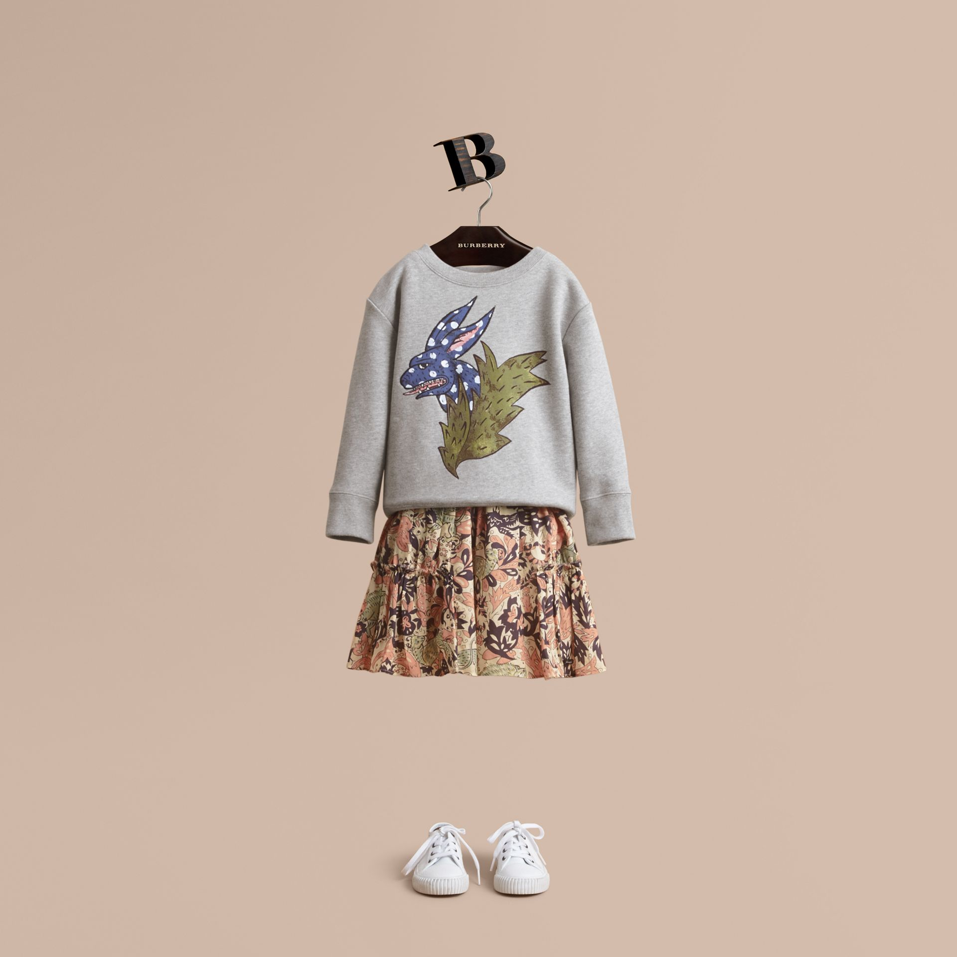 Beasts Motif Cotton Sweatshirt in Grey Melange - Girl | Burberry - gallery image 1