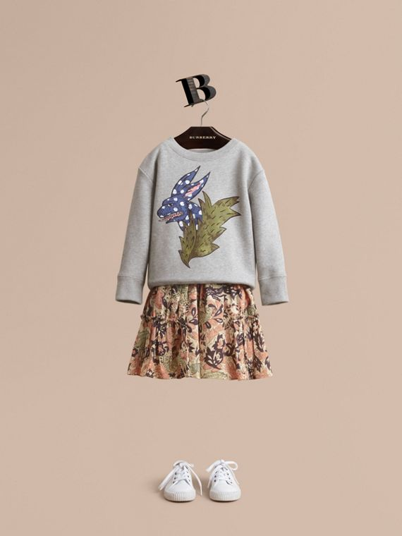 Beasts Motif Cotton Sweatshirt - Girl | Burberry Singapore