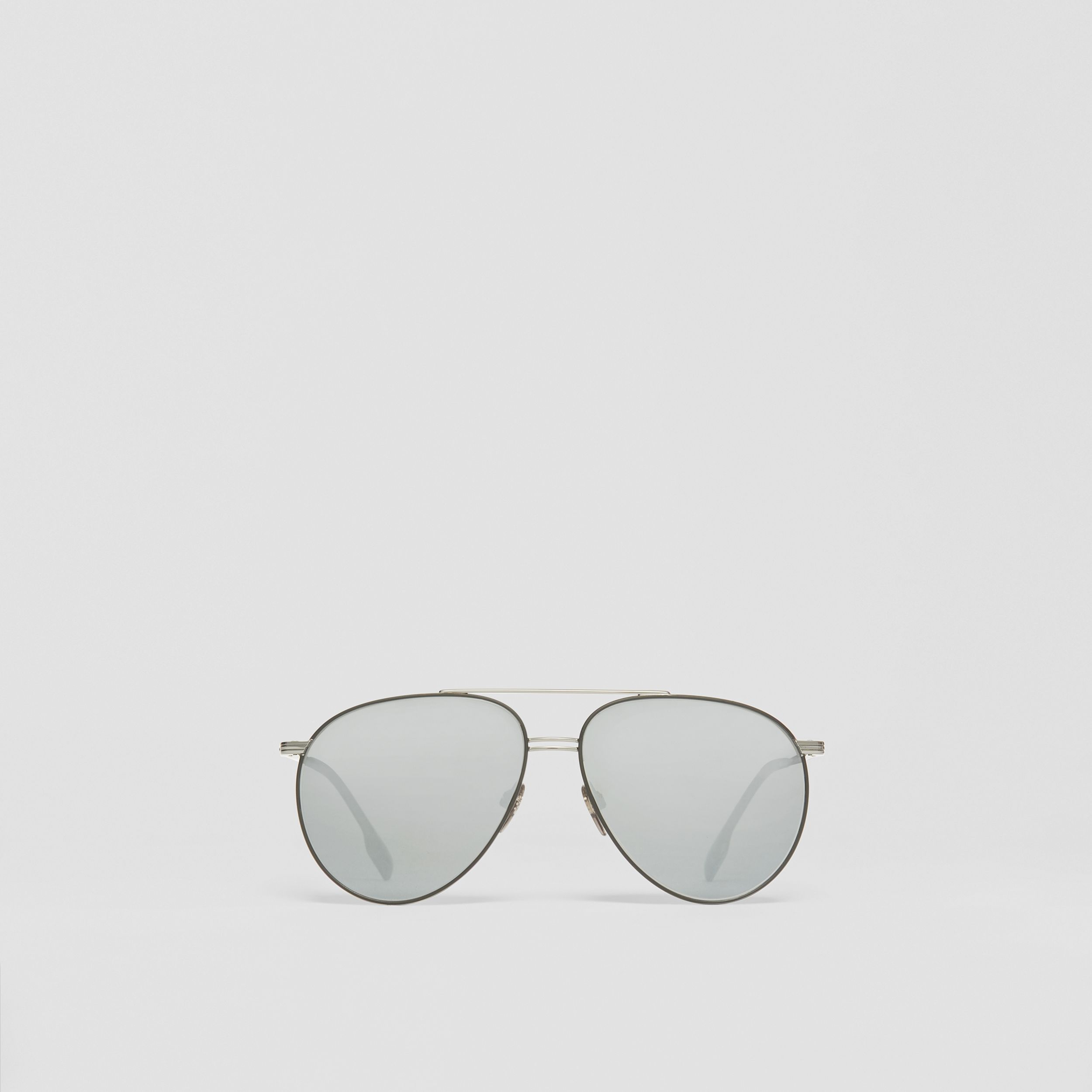 Top Bar Detail Pilot Sunglasses in Gunmetal/black - Men | Burberry - 1