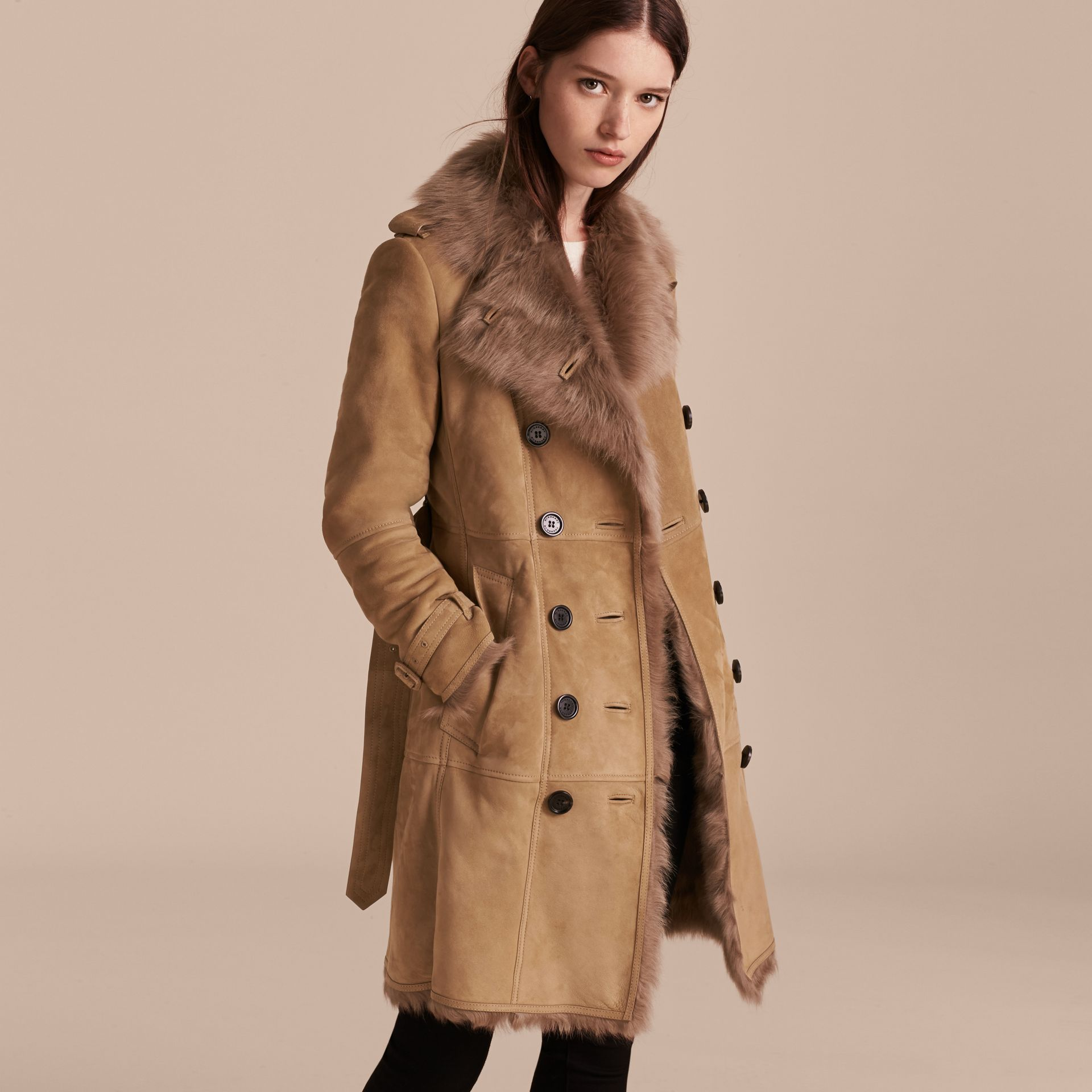 Camel Shearling Trench Coat - gallery image 7