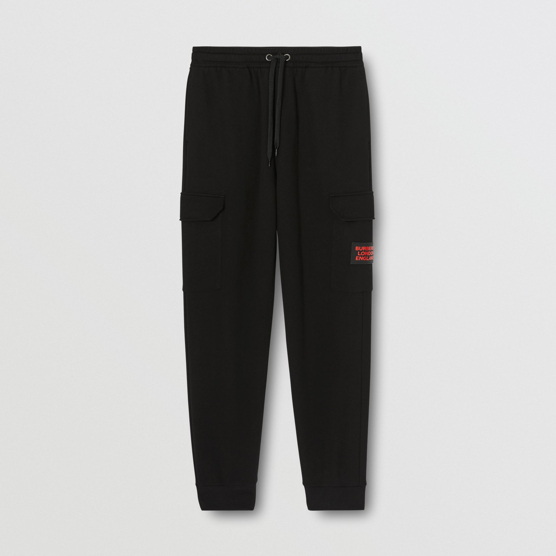 Logo Appliqué Cotton Trackpants in Black - Men   Burberry United States - gallery image 3