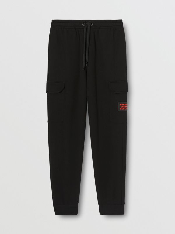 Logo Appliqué Cotton Trackpants in Black - Men   Burberry United States - cell image 3