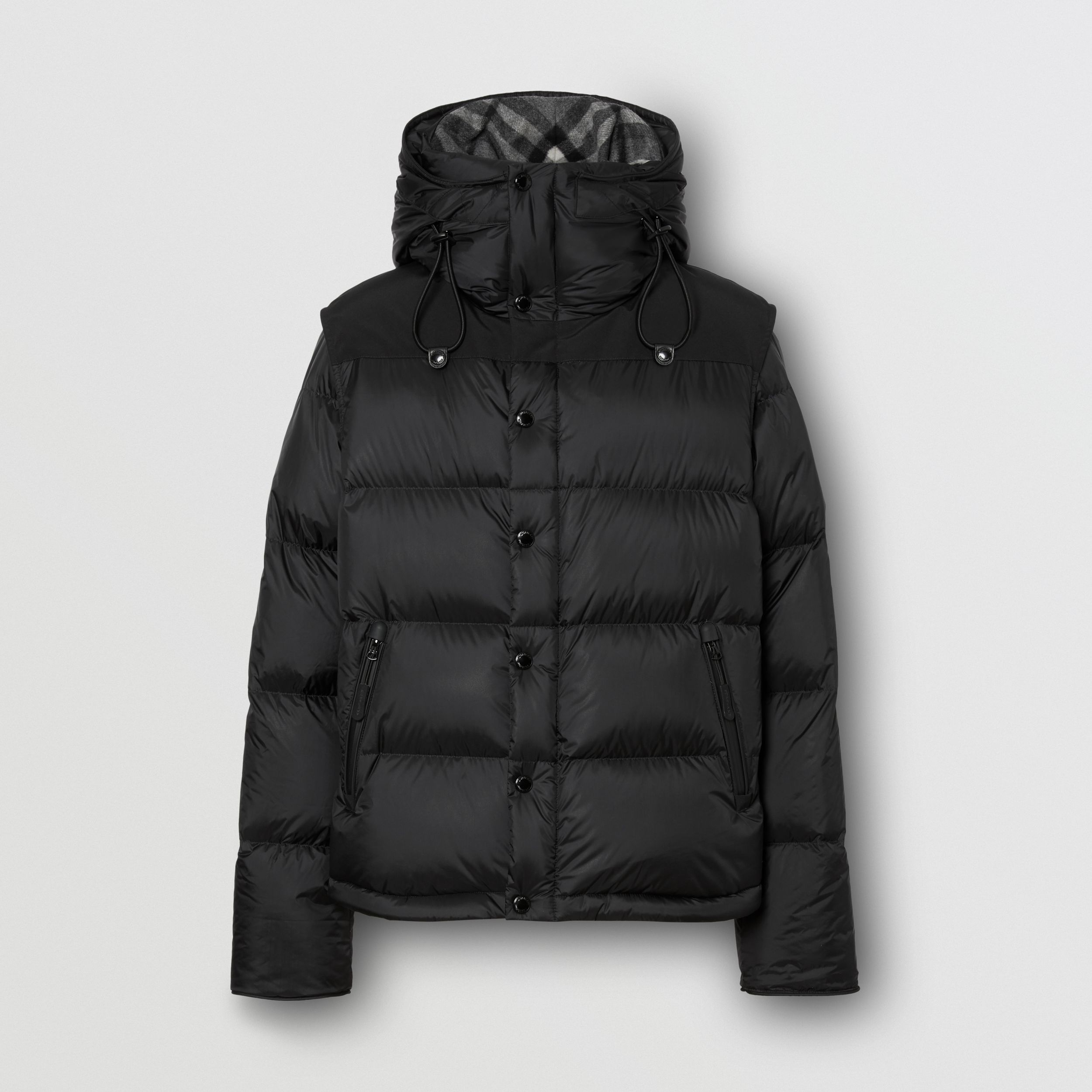 Detachable Sleeve Hooded Puffer Jacket in Black - Men | Burberry - 4